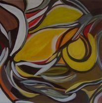 Grau geschwungen, Braun, Gelb, Malerei