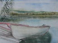 Aquarellmalerei, Abstrakt, Malerei, Boot