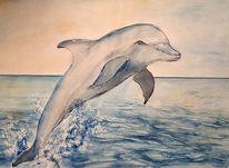 Aquarellmalen, Aquarellmalerei, Delfin, Landschaft