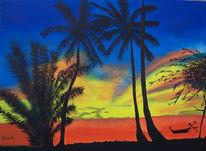 Malerei, Sonnenuntergang, Thailand