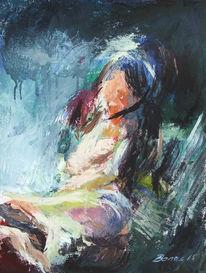 Abstrakt, Acrylmalerei, Kontrast, Frau