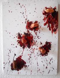 Blut, Collage, Hände, Puppe