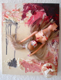 Barbie, Blut, Collage, Puppe