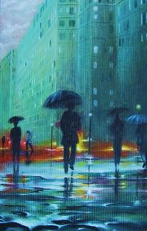 Regen, Pappe, Ölmalerei, Malerei