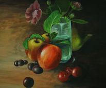Glas, Obst, Blumen, Leben