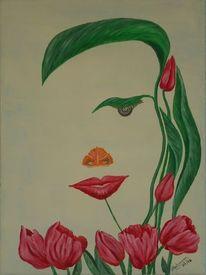 Blumen, Gesicht, Malerei