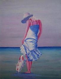 Meer, Abend, Frau, Malerei