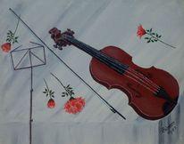 Rose, Geige, Tisch, Malerei