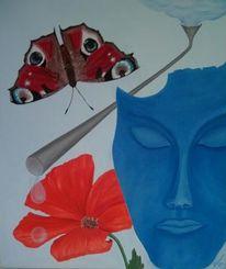 Schmetterling, Gesicht, Wasser, Blumen