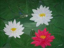 Seerosen, Malerei, Pflanzen, Libelle