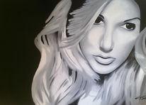 Frau, Mädchen, Portrait, Schwarz weiß