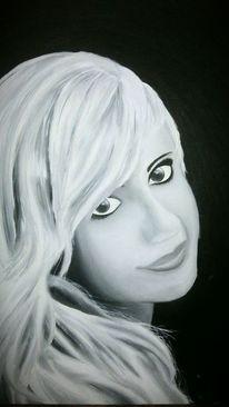Frau, Ölmalerei, Mädchen, Schwarzweiß
