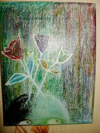 Abstrakt, Psychische anstalt, Drogen, Pastellmalerei