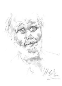 Bleistiftzeichnung, Frieden, Gesicht, Armut