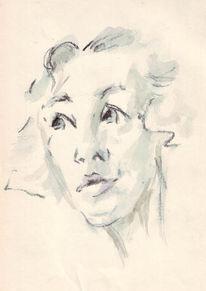 Scharf, Zeichnung, Lippen, Portrait