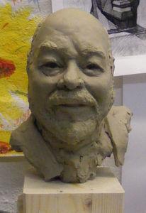 Gesicht, Werkstatt, Paperclay, Plastik