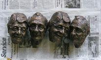 Kopf, Skulptur, Herz, Gips