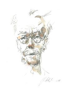 Bleistiftzeichnung, Lesen, Gesicht, Zeichnung