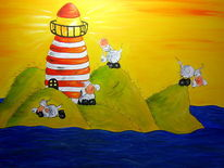 Meer, Leuchtturm, Schaf, Malerei