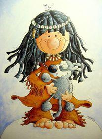 Indianer, Wolf, Welpe, Malerei