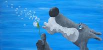 Wolf, Pusteblumen, Malerei, Tiere