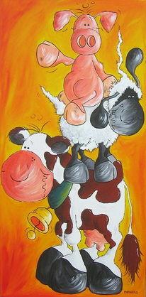 Schwein, Kuh, Tiere, Rind