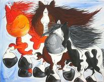 Pferde, Schecke, Isländer, Malerei