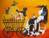 Pferde, Hund, Katze, Bollerwagen