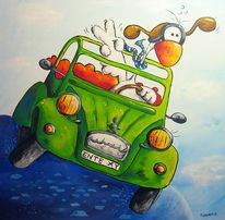 Auto, Enten, Vogel, Malerei