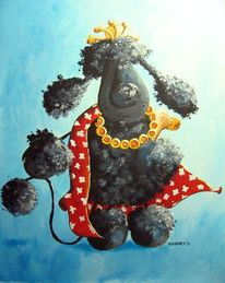 Pudel, Hund, Hundchen, Malerei