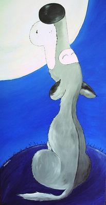 Wolf, Mond, Malerei, Tiere