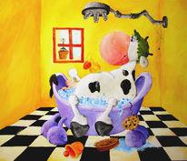 Badewanne, Kuh, Malerei, Tiere