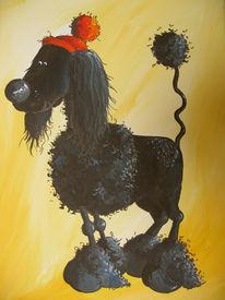 Pudel, Hund, Tiere, Malerei