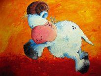 Tiere, Widder, Schaf, Malerei