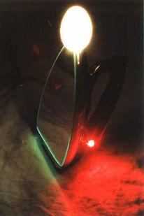 Lampe, Lichtobjekt, Spiegel, Bügeleisen