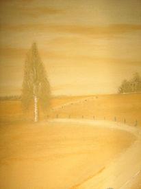 Ölmalerei, Malerrei, Weg, Pastellmalerei