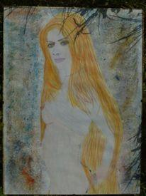 Lange haare, Akt, Farben, Experimentell