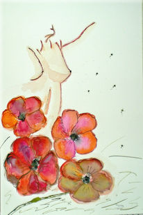 Akt, Blumen, Aquarellmalerei, Aquarell