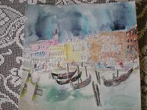 Grandeschwarzgelbrotbraungrün tuschezeichnungaquarellmischtechnikblaugondelwassercalane, Aquarell, Venedig, Grande