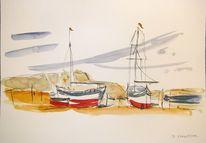 Stehen, Boot, Zeichnung, Aquarellmalerei