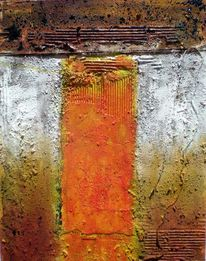 Collage, Mischtechnik, Gold, Orange
