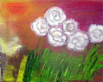 Blumen, Pflanzen, Flora, Mischtechnik
