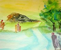 Bam, Menschen, Spaziergang, Aquarellmalerei
