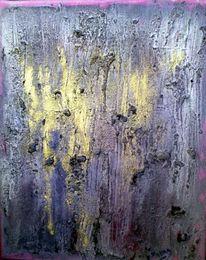 Acrylmalerei, Lasurtechnik, Lila, Gold