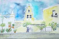 Aquarellmalerei, Griechenland, Kloster, Kirche