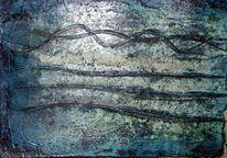 Wasser, Tuschmalerei, Blau, Struktur