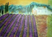 Acrylmalerei, Lavendel, Landschaft, Provence