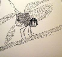 Fotografie, Schraffur, Zeichnung, Libelle