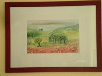 Hügel, Mohn, Aquarellmalerei, Landschaft