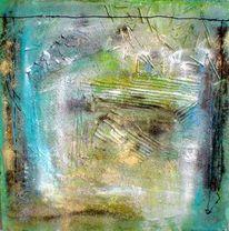 Pigmente, Collage, Schlitzkarton, Stroh